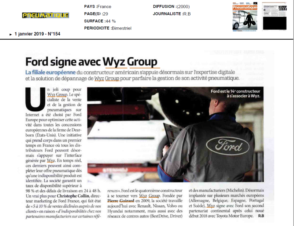 Pneumatique - Ford signs with WYZ Group | WYZ Group, solutions